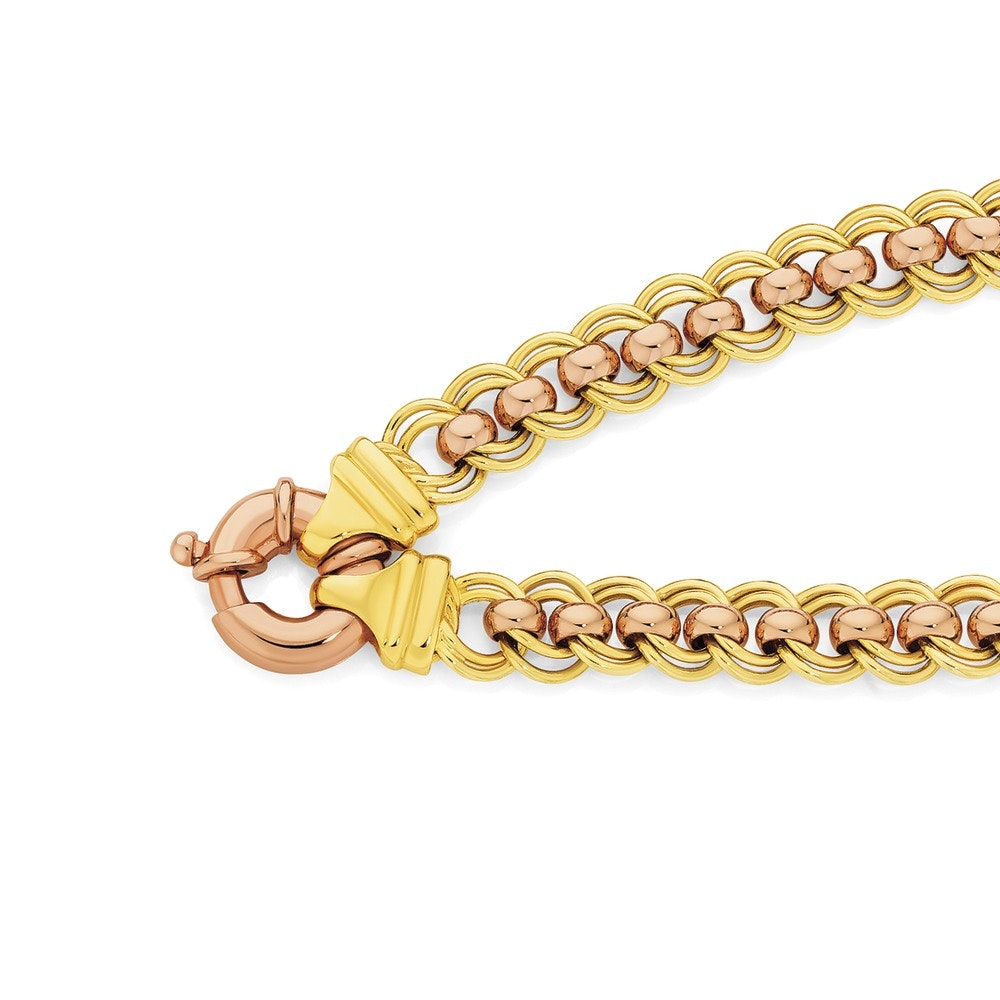 9ct Yellow Rose Gold 19cm Double Rollo Bolt Ring Bracelet Angus Coote Catalogue Salefinder
