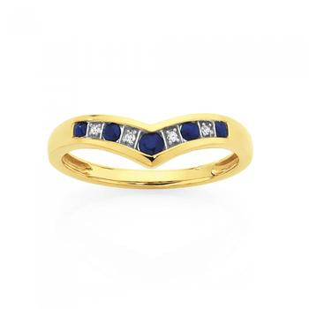 9ct Gold Sapphire & Diamond Round Brilliant Cut V Ring