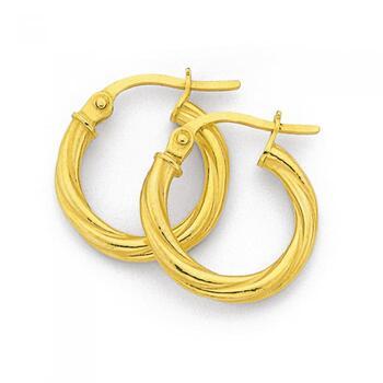 9ct Gold 10mm Twist Hoop Earrings