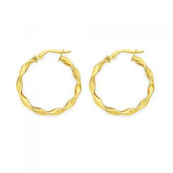 9ct Gold 20mm Twist Hoop Earrings