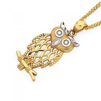 9ct Gold Two Tone Owl Pendant