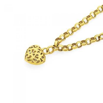 9ct Gold 19cm Belcher Bracelet with Heart