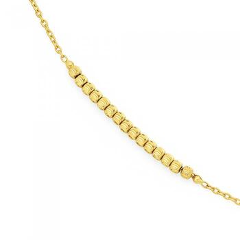 9ct Gold 27cm Beaded Cable Anklet
