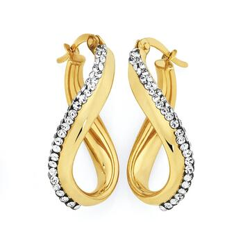 9ct Gold on Silver Crystal Hoops
