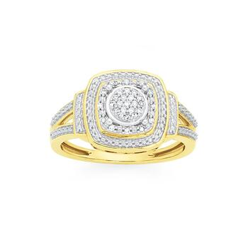 9ct Gold Diamond  Cushion Shape Double Framed Ring