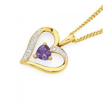 9ct Gold Amethyst & Diamond Heart Pendant