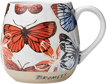 RGA x Bromley Hug Me Mug 550ml 18.5oz - Red Butterflies