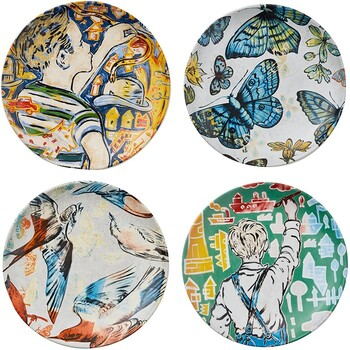"RGA x Bromley Side Plate 4 Pack 19 / 2.5cm 7.4"" / 0.9"" - Mixed Artwork"