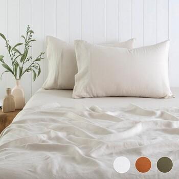 Washed Linen Flat Sheet by M.U.S.E.