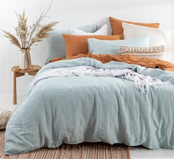 Washed Linen Dusty Blue Quilt Cover Set by M.U.S.E.