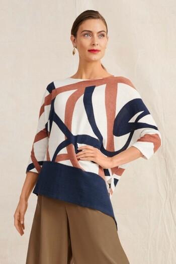 Grace Hill Linen Blend Asymmetric Top