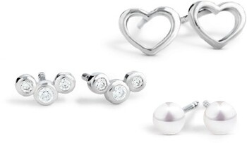 NEW Earring Set with Cultured Freshwater Pearlº, Cubic Zirconia in Sterling Silver