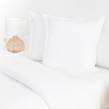 Washed Linen Look White European Pillowcase by Essentials