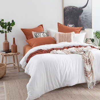 Washed Linen Look White Quilt Cover Set by Essentials