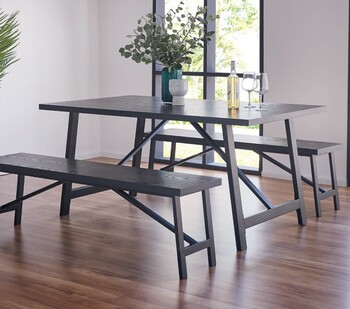 Nicholls 3 Piece Dining Set with Benches