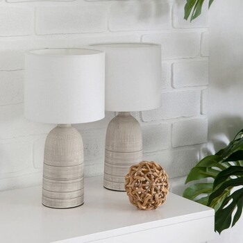 Mykonos Grey/Natural Table Lamp Set of 2 by M.U.S.E.