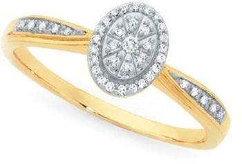 9ct Gold Diamond Oval Shape Shoulder Set Ring
