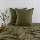 Washed-Linen-Olive-European-Pillowcase-Pair-by-M.U.S.E Sale
