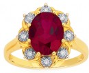 9ct-Gold-Created-Ruby-Diamond-Oval-Flower-Ring Sale