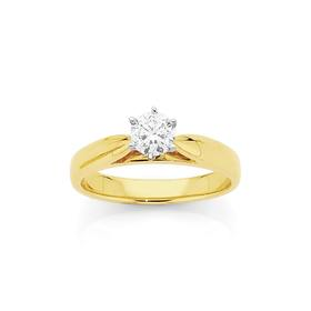 18ct-Gold-Two-Tone-Diamond-Solitaire-Engagement-Ring on sale