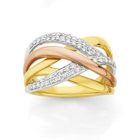 9ct-Tri-Tone-Diamond-Pave-Crossover-Dress-Ring on sale