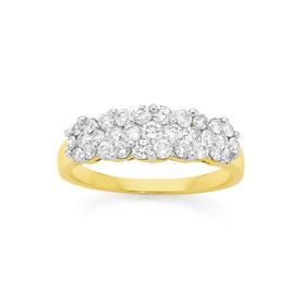 9ct-Gold-Diamond-Multi-Cluster-Ring on sale