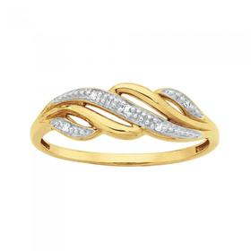 9ct-Gold-Diamond-Wave-Ring on sale