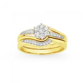 9ct-Gold-Diamond-Cluster-Bridal-Set on sale