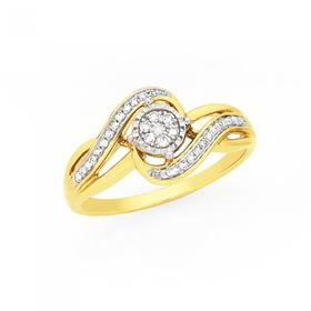 9ct-Gold-Diamond-Miracle-Set-Cluster-Swirl-Ring on sale