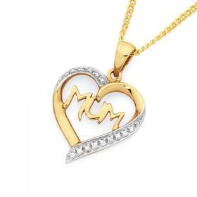 9ct-Gold-Diamond-Mum-Heart-Pendant on sale