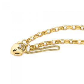9ct-Gold-18.5cm-Solid-Oval-Belcher-Padlock-Bracelet on sale