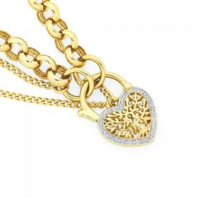 9ct-Gold-19cm-Solid-Belcher-Diamond-Tree-Padlock-Bracelet on sale