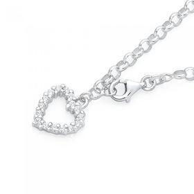 Sterling-Silver-Cubic-Zirconia-Heart-Belcher-Bracelet on sale