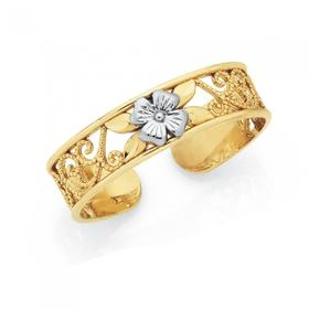 9ct-Gold-Two-Tone-Filigree-Flower-Toe-Ring on sale