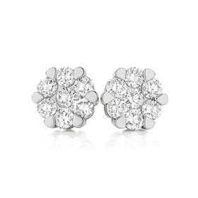 9ct-Gold-Two-Tone-Diamond-Cluster-Studs on sale