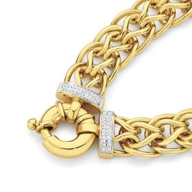 9ct-Gold-20cm-Solid-Diamond-Set-Bolt-Ring-Bracelet on sale