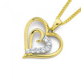 9ct-Gold-Cubic-Zirconia-Double-Heart-Pendant on sale