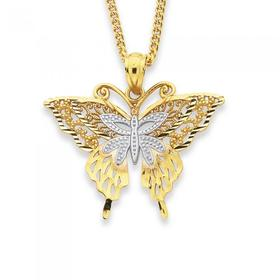 9ct-Gold-Two-Tone-Butterfly-Pendant on sale