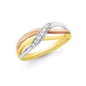 9ct-Gold-Tri-Tone-Diamond-Crossover-Ring on sale