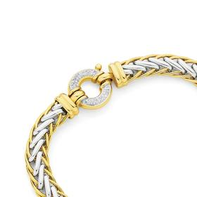 9ct-Gold-Two-Tone-19cm-Solid-Weave-Diamond-Bolt-Ring-Bracelet on sale