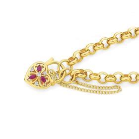 9ct-Gold-19cm-Solid-Natural-Rubies-Diamonds-Padlock-Bracelet on sale