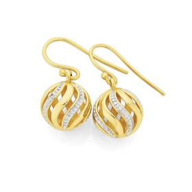 9ct-Gold-Two-Tone-12mm-Spinning-Ball-Earrings on sale