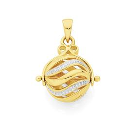 9ct-Gold-Two-Tone-12mm-Spinning-Ball-Pendant on sale