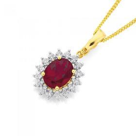 9ct-Gold-Created-Ruby-Diamond-Enhancer-Pendant on sale