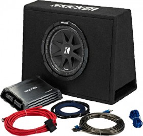 Kicker-10-Subwoofer-in-Custom-Slim-Enclosure-300W-Plus-2-Channel-Amplifier-250w on sale