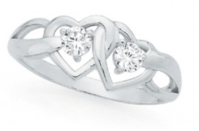 Sterling-Silver-Cubic-Zirconia-Double-Interlocking-Heart-Ring on sale