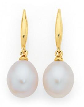9ct-Gold-Cultured-Freshwater-Pearl-Tear-Drop-Shepherd-Hook-Earrings on sale
