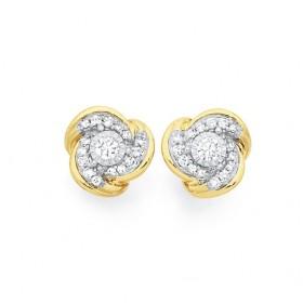 9ct-Gold-Diamond-Knot-Stud-Earrings on sale