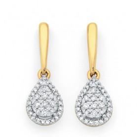 9ct-Gold-Diamond-Pear-Shape-Drop-Stud-Earrings on sale