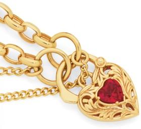 9ct-Gold-19cm-Solid-Belcher-Created-Ruby-Padlock-Bracelet on sale